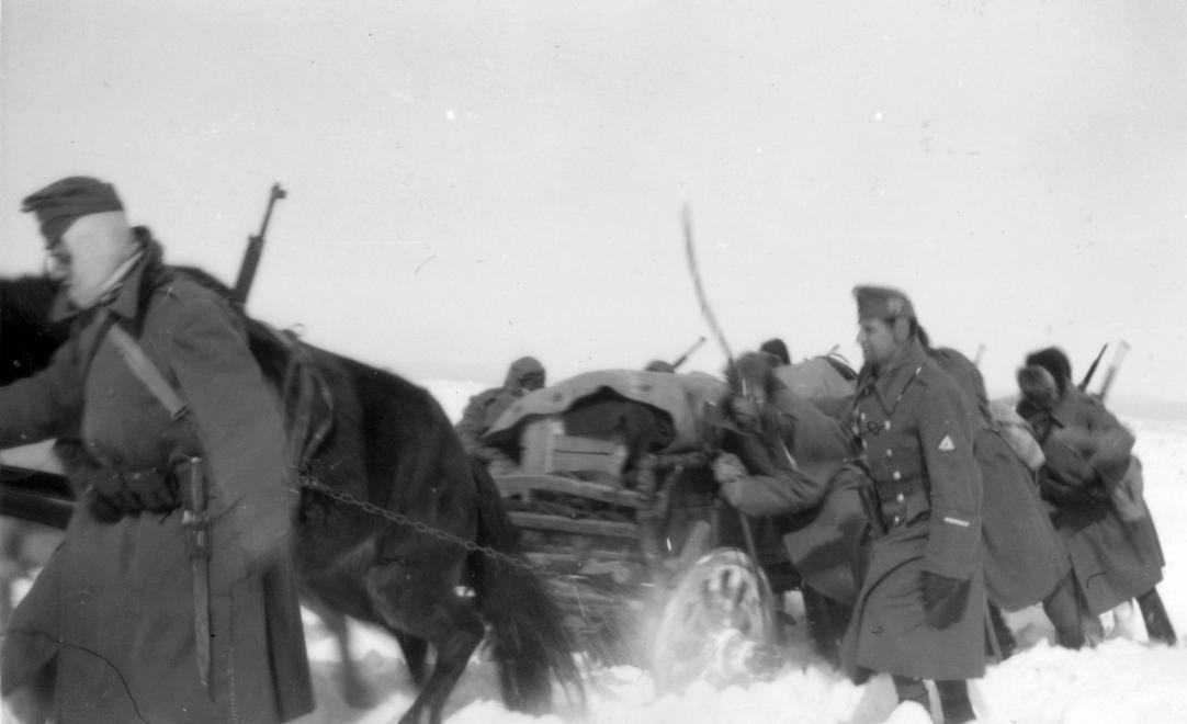 Венгерские солдаты на дороге в Харьковской области, февраль 1942 года